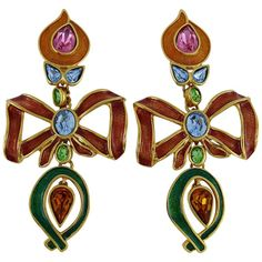 Yves Saint Laurent YSL Vintage Extra Long Jewelled Bow Dangle Earrings | From a unique collection of vintage dangle earrings at https://www.1stdibs.com/jewelry/earrings/dangle-earrings/