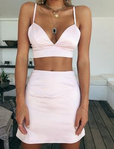 Two Piece Homecoming Dress , Short Homecoming Dress White Outfits, New Outfits, Summer Outfits, Fashion Outfits, Fashion Tips, Fashion Trends, Two Piece Homecoming Dress, Homecoming Dresses, Top Y Pollera
