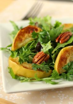 nice Salad with Broiled Apples and Pecans