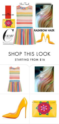 """Match"" by pamela-802 ❤ liked on Polyvore featuring beauty, Missoni Mare, Christian Louboutin, Loewe, hairtrend and rainbowhair"