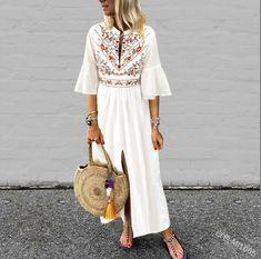 7e620042da4f88 Plus Size Loose V-Neck Mid-Sleeve Printed Front Split Dress. Cotton  LinenCheap FashionWomens ...