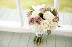 White Hydrangea, Ivory Roses, & Amnesia Roses = Wedding Bouquet