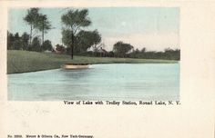 View of Lake with Trolley Station, ROUND LAKE, N.Y. Postcard 1907 SARATOGA CO.