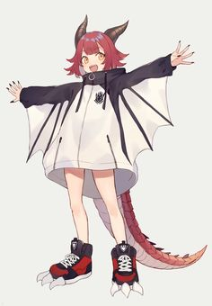 Original work, by Shugao - Patricia Mish Cute Anime Character, Fantasy Character Design, Character Design Inspiration, Character Art, Anime Child, Anime Art Girl, Anime Monsters, Dragon Girl, Monster Characters