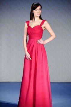 Straps A-line  chiffon over satin bridesmaid dress