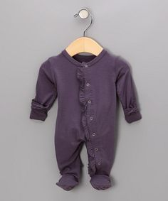 Plum Tree Ruffle Bamboo Footie - Infant