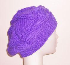 Hand knit beanie Purple Womens beanie slouch beanie by earflaphats, $29.99