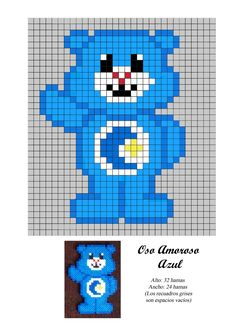 Oso Amoroso Azul - Care Bear - hama beads - pattern Perler Bead Designs, Perler Bead Templates, Hama Beads Design, Pearler Bead Patterns, Perler Patterns, Pearler Beads, Fuse Beads, Beaded Cross Stitch, Cross Stitch Patterns
