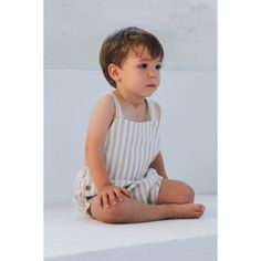 Linen 3-Button Overall Back Strap, Elastic Waist, Overalls, Stripes, Rompers, Buttons, Baby, Romper, Newborns