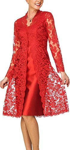 Women Fashion Solid Color Lace Dress Two Pieces Set Knee Length Long Sleeve Lace Outwear and Sleeveless Slim Dress Plus Size Trendy Dresses, Elegant Dresses, Plus Size Dresses, Beautiful Dresses, Nice Dresses, Short Dresses, Fashion Dresses, Mother Of Bride Outfits, Mothers Dresses