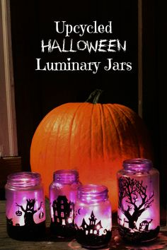Upcycled Halloween Luminary Jars