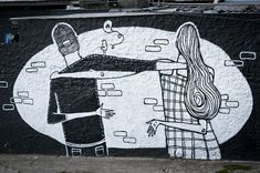 I am super happy to have discovered such an amazing talent. Alex Senna is an artist and illustrator from Sao Paulo. His black and white murales are quite unusual but extremely eye catchy and b… Murals Street Art, Street Art Graffiti, Mural Art, I Miss You Wallpaper, Graffiti Bridge, Illustrator, Street Art Love, Wallpaper Stores, Country Artists