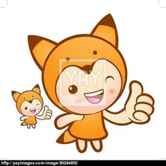 Fox Mascot the Right hand best gesture. Animal Character Design