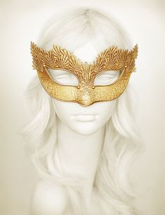 Pure Gold Lace Masquerade Mask With Brocade Fabric Venetian