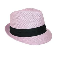 Jeanne Simmons Kids' Straw Pleated Band Easter Fedora Hat, Girl's, Pink
