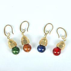 boucle d'oreille  verre céramique  4 couleur /support en laiton/poudre métallique/fait à la main de la boutique Rizdarlin sur Etsy