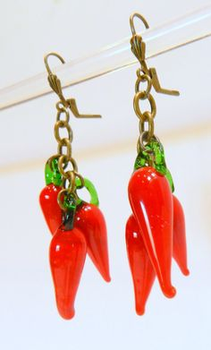 Chile pepper earrings red hot chile pepper jewelry by FIPDesigns, $18.00