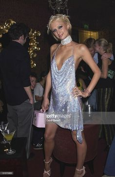 Paris Hilton celebrates her 21st Birthday Party at the Stork Rooms in Swallow Street on May 3, 2002 in London.