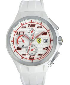 FERRARI Lap Time Chronograph White Rubber Strap, 285€ http://www.oroloi.gr/product_info.php?products_id=33349
