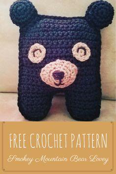 Free Crochet Pattern-Smokey Mountain Bear Lovey-Perfect friend for any toddler! #crochet #baby #lovey #bear