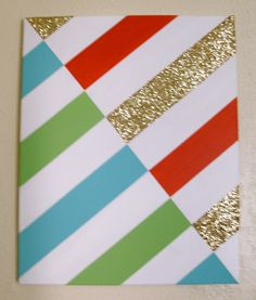 Glitter and Stripes Painting - with the colors of my room!