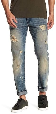 Fit: this style fits true to size. Faded and whiskered thighs. Teaching Mens Fashion, Tall Men Fashion, Grunge Guys, Slim Jeans, Men's Jeans, Men Style Tips, Mens Clothing Styles, Distressed Denim, Men Casual