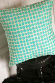 16 x 16 Inch Pillow Cover made with Amy Butler Sun Spots Fabric in Turquoise - Envelope Closure