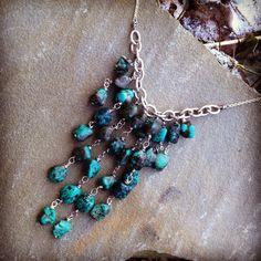 GENUINE turquoise GEMSTONE bold statement necklace  on Etsy, $49.00