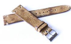 Dark Stained Beige Leather Strap