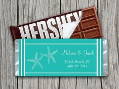 Starfish Beach Wedding Candy Bar Wrapper Template | Tiffany Blue Aqua | 1.55 oz Hershey Bar Wrapper | Downloadable Candy Wrapper | ANY Color by PaintTheDayDesigns, $7.75