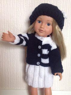 Les poupées tricotés à la main tenue Cardigan, jupe et chapeau pour s'adapter à 18 en poupée, poupée American Girl, DesignaFriend etc.  Tricoté main dans une maison de libre pour animaux de compagnie sans fumée  La poupée dans limage est Tchad vallée DesignaFriend et nest pas incluse dans la vente  Merci pour la recherche