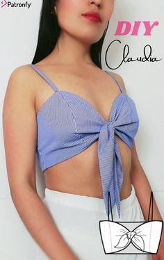 Crop Top Pattern, Tie Front Crop Top, Tie Knots, Pdf Sewing Patterns, Youtube, Slim, Crop Tops, Diy Tutorial, Woven Fabric