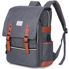Modoker Canvas Laptop Rucksack Backpack Vintage Leather Bookbag for Men Women, Laptop Brown Travel Backpack with USB Charging Port College School Bag Fashion Vegan Bookbag Casual Daypack Vintage Backpacks, Cool Backpacks, College Backpacks, Orange Backpacks, Swag, Laptop Rucksack, Laptop Bags, College Bags, College School