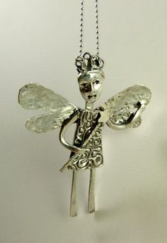 Fairy Lark Frolics In Light - Up Cycled Sterling Silverware, Up cycled Sterling SIlver, and PMC - Pendant