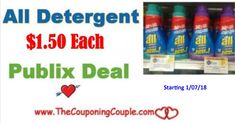 ** All Laundry Detergent Only $1.50 @ Publix starting 1/7/18 with sale and coupon in next Sunday's paper. Don't miss this HOT deal!  Click the link below to get all of the details ► http://www.thecouponingcouple.com/all-laundry-detergent/ #Coupons #Couponing #CouponCommunity  Visit us at http://www.thecouponingcouple.com for more great posts!