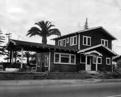 (1954)* - Camera gets a last look at the old Van Nuys home built by Valley pioneer, George Beals, in 1909 at Sherman Circle and Van Nuys Boulevard. Site will soon be that of a new drive-in sandwich shop. Photo dated: December 2, 1954. – Valley Times