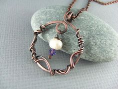 Wire Wrapped Jewelry Copper Jewelry Wire Wrapped Pendant Pearl Necklace Amethyst Necklace Copper Necklace Wire Wrap Necklace