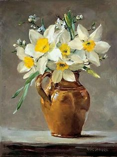 """Narcissus in a Small Brown Jug"" ~ Oil Painting by Ann Cotterill . Published by Mill House Fine Art as a Greetings Card . Painting Still Life, Still Life Art, Art Floral, Watercolor Flowers, Watercolor Art, Painting Flowers, Flowers Vase, Still Life Flowers, Art Abstrait"