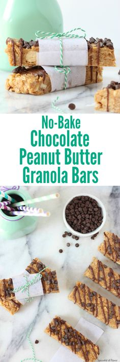 No Bake Chocolate Peanut Butter Granola Bars are made without sugar and are a fun snack!