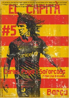 Carles Puyol of Barcelona wallpaper. Retro Football, Football Design, Vintage Football, Football Soccer, Soccer Art, Soccer Poster, Fc Barcelona, Barcelona Football, Rugby