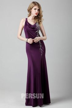 Palatinate split front Formal dress with beading details [LC7365] - PersunMall.com