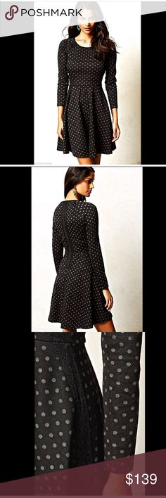 """Anthropologie  black gray dots stretchy Dress L Anthropologie / Weston Wear black with gray polka dots stretchy """"Lace-Framed Dress""""  This swingy, lace-adorned number goes from dressed up to casual                   New Without Tags  *  Size:  Large                  retail price:  $178.00                      *there is a black line through the tag to prevent store return                              68% polyester  *  31% rayon  *  1% spandex                            Regular falls 36"""" from…"""