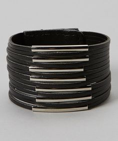 Take a look at this Black & Silver Tube Bracelet by Sweet Indigo on #zulily today!