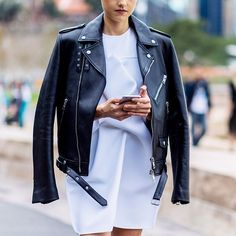 EDGY MINIMALIST LEATHER COVERUP WITH A WHITE DRESS