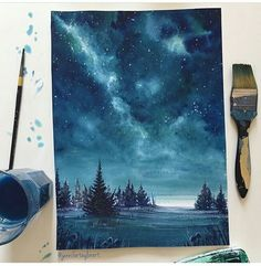 🌌🌚 hi everyone hope you re all enjoying your week thus far🌚🌌 this is the piece completed from my last post pleased with… Galaxy Painting, Galaxy Art, Painting Inspiration, Art Inspo, Aesthetic Painting, Diy Canvas Art, Oeuvre D'art, Watercolor Paintings, Watercolors
