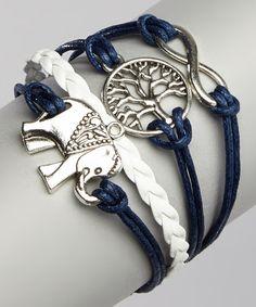 Love this Navy Elephant & Tree Bracelet on #zulily! #zulilyfinds