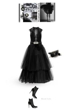 """""""First lesson in fashion, the color black"""" by blonde-bedu ❤ liked on Polyvore featuring I.D. SARRIERI, Lela Rose, Alexander McQueen, Martin Grant, Yves Saint Laurent and Kenneth Jay Lane"""