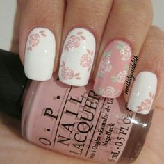 Pretty dusty pink floral nail design! Love it!!