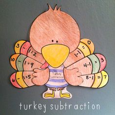 FREE Turkey Pattern (Used It with Ten Fat Turkeys; Students Write Subtraction Equations on the Tail Feathers)