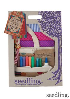 Great gift for the little designer! Design your own tote bag by www.seedling.com